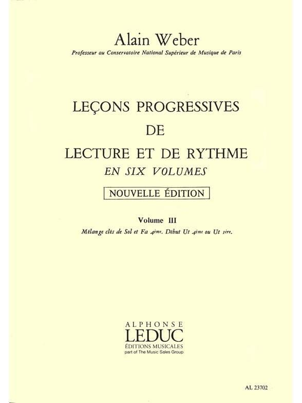 Alain Weber - Progressive Lessons for Reading and Rhythm Volume 3 - Partition - di-arezzo.co.uk