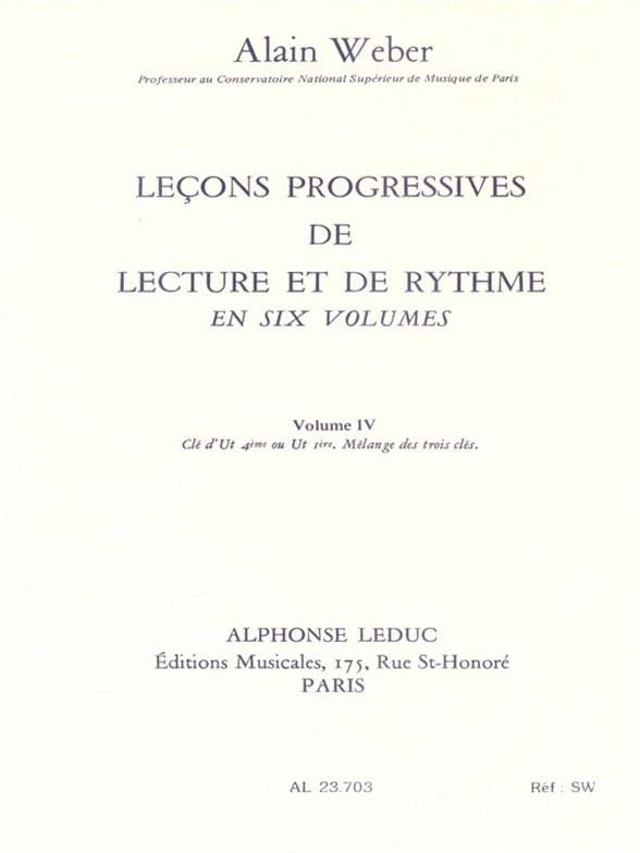 Alain Weber - Progressive Lessons of Reading and Rhythm Volume 4 - Partition - di-arezzo.co.uk