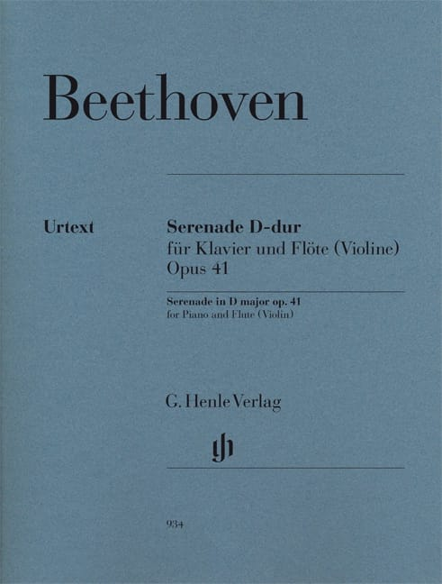 BEETHOVEN - Serenade - Opus 41 for piano and violin flute - Partition - di-arezzo.co.uk
