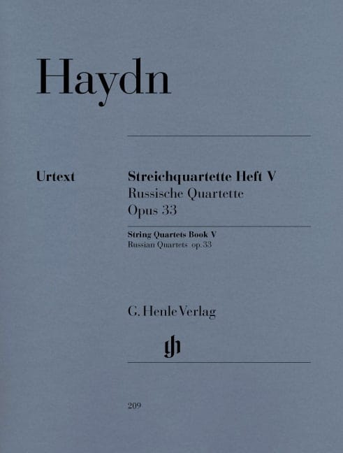 HAYDN - String quartets volume V, op. 33 Russian Quartets - Partition - di-arezzo.co.uk