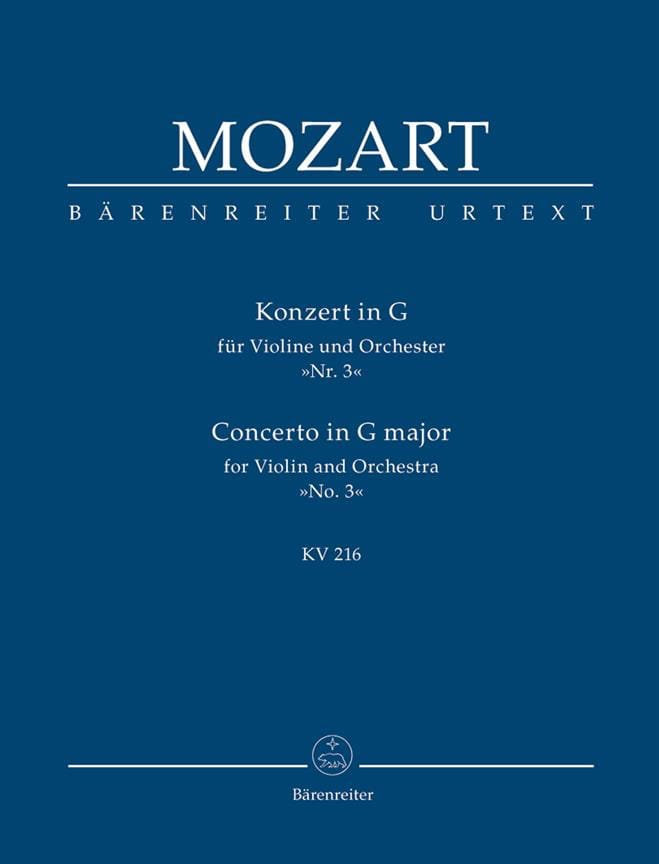 Violin-Konzert G-Dur KV 216 - Partitur - MOZART - laflutedepan.com