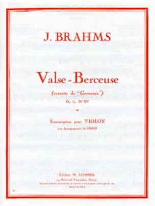Valse - Berceuse op. 39 n° 15 - BRAHMS - Partition - laflutedepan.com