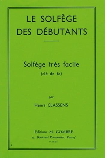 Henri Classens - Beginners' Solfeggio - Key of F - Partition - di-arezzo.com