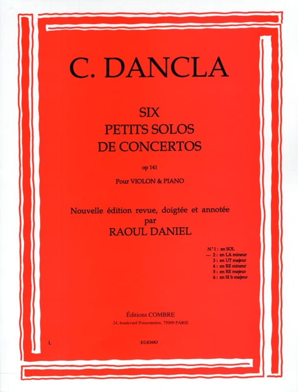 DANCLA - Small concerto solo op. 141 n ° 2 in A minor - Partition - di-arezzo.com