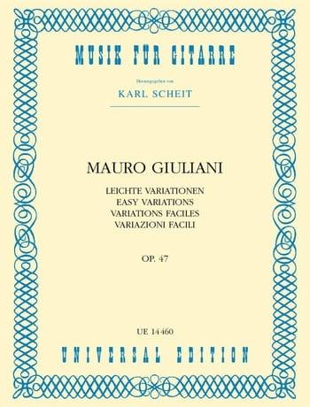 Mauro Giuliani - Variazioni facili op. 47 - Partition - di-arezzo.com