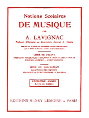 Notions scolaires - Volume 1 - Elève - Lavignac - laflutedepan.com