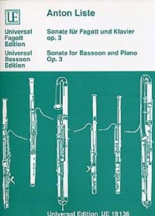 Sonate für Fagott und Klavier op. 3 - Anton Liste - laflutedepan.com