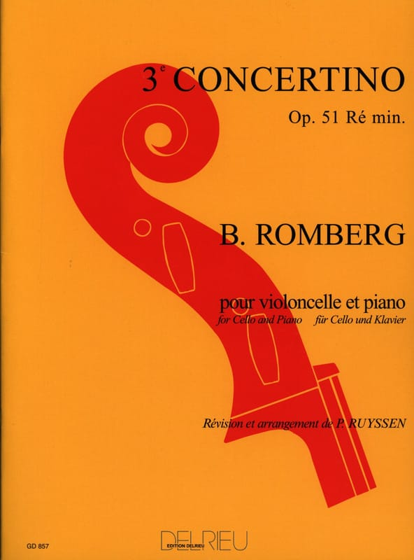 Bernhard Romberg - Concertino n ° 3 op. 51 D minor - Partition - di-arezzo.co.uk