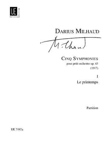 Darius Milhaud - 5 Symphonies : n° 1 Le printemps - Conducteur - Partition - di-arezzo.fr