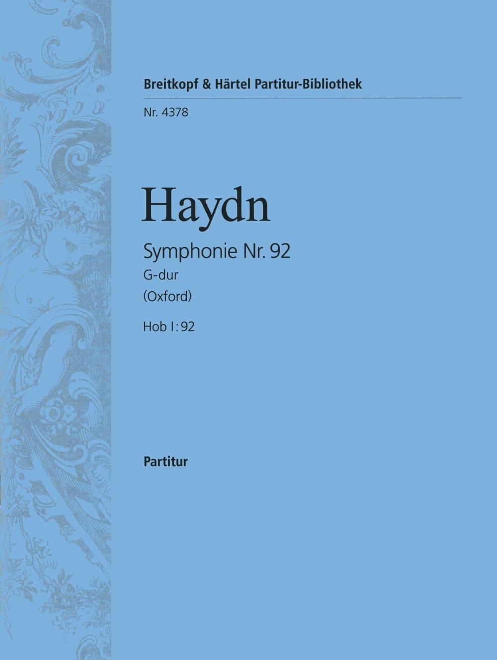 Symphonie Nr. 92 G-Dur - Partitur - HAYDN - laflutedepan.com