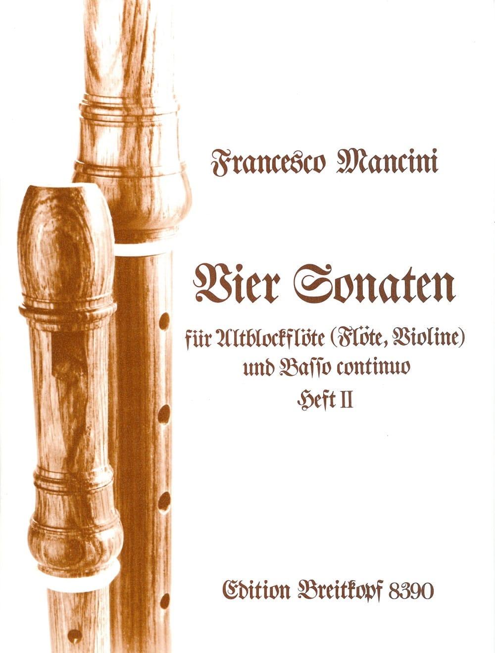 Vier Sonaten - Heft 2 - Altblockflöte u. Bc - laflutedepan.com