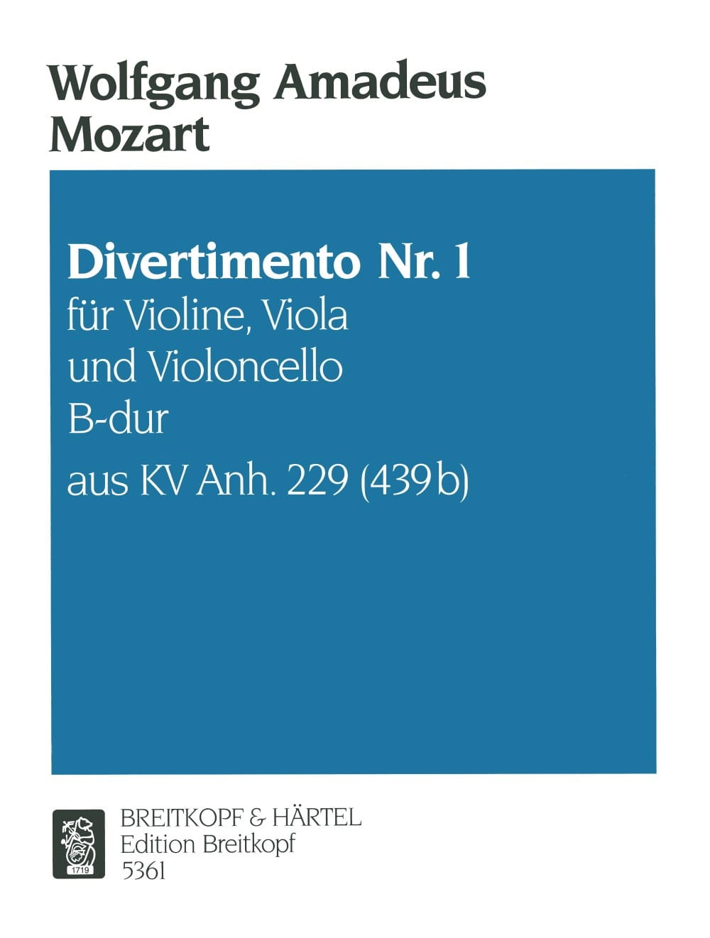 MOZART - Divertimento Nr.1 B-Hard KV Anh. 229 - Violine Viola Cello - Stimmen - Partition - di-arezzo.co.uk