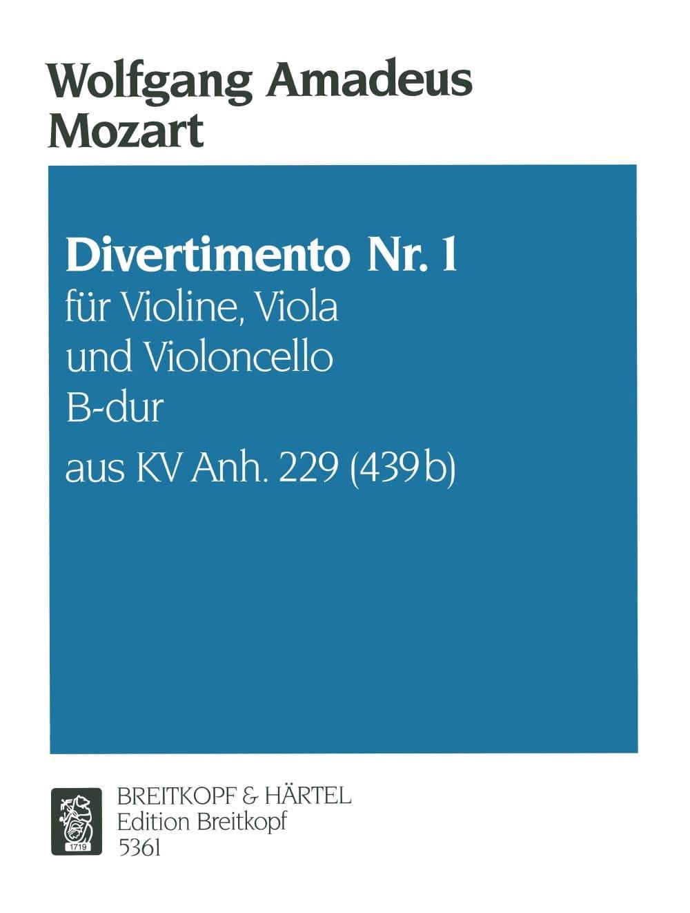 Divertimento Nr.1 B-Dur KV Anh. 229 -Violine Viola Cello - Stimmen - laflutedepan.com
