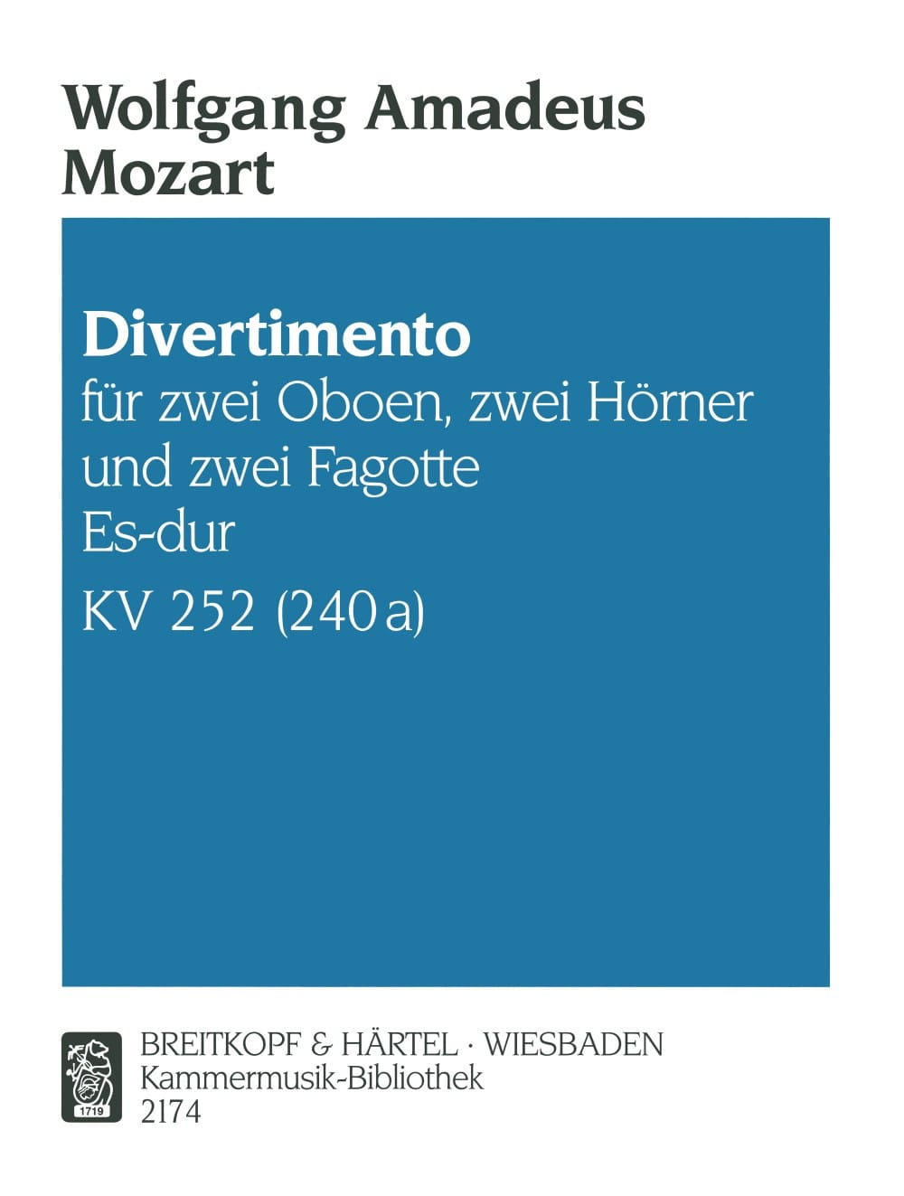 MOZART - Divertimento Es-Dur KV 252 - Bläsersextett - Stimmen - Partition - di-arezzo.co.uk