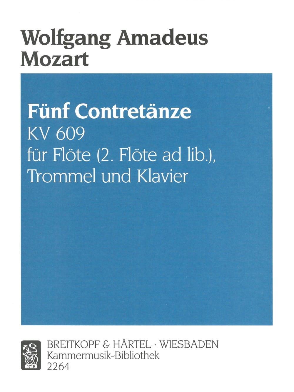 MOZART - 5 Contretänze KV 609 - Flöte Trommel Klavier - Partition - di-arezzo.co.uk