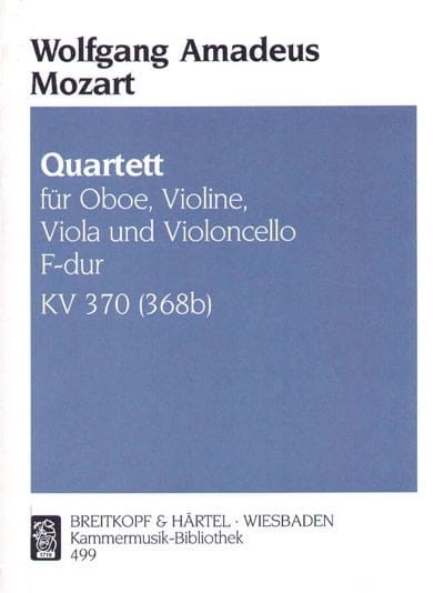 MOZART - Quartet F-hard KV 370 386b - Oboe Violine Viola Cello - Partition - di-arezzo.co.uk