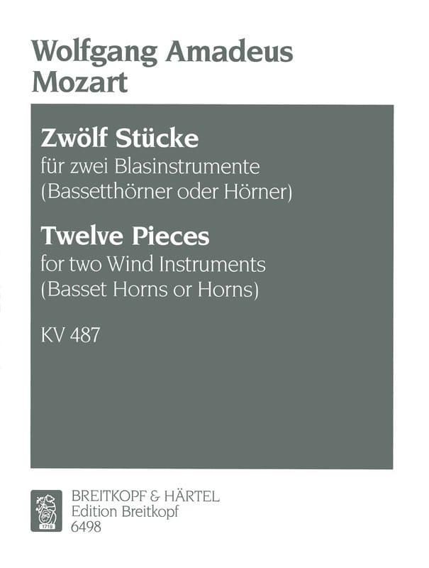 MOZART - 12 Stücke KV 487- 2 Blasinstrumente Bassethorner o. Hörner - Partition - di-arezzo.co.uk