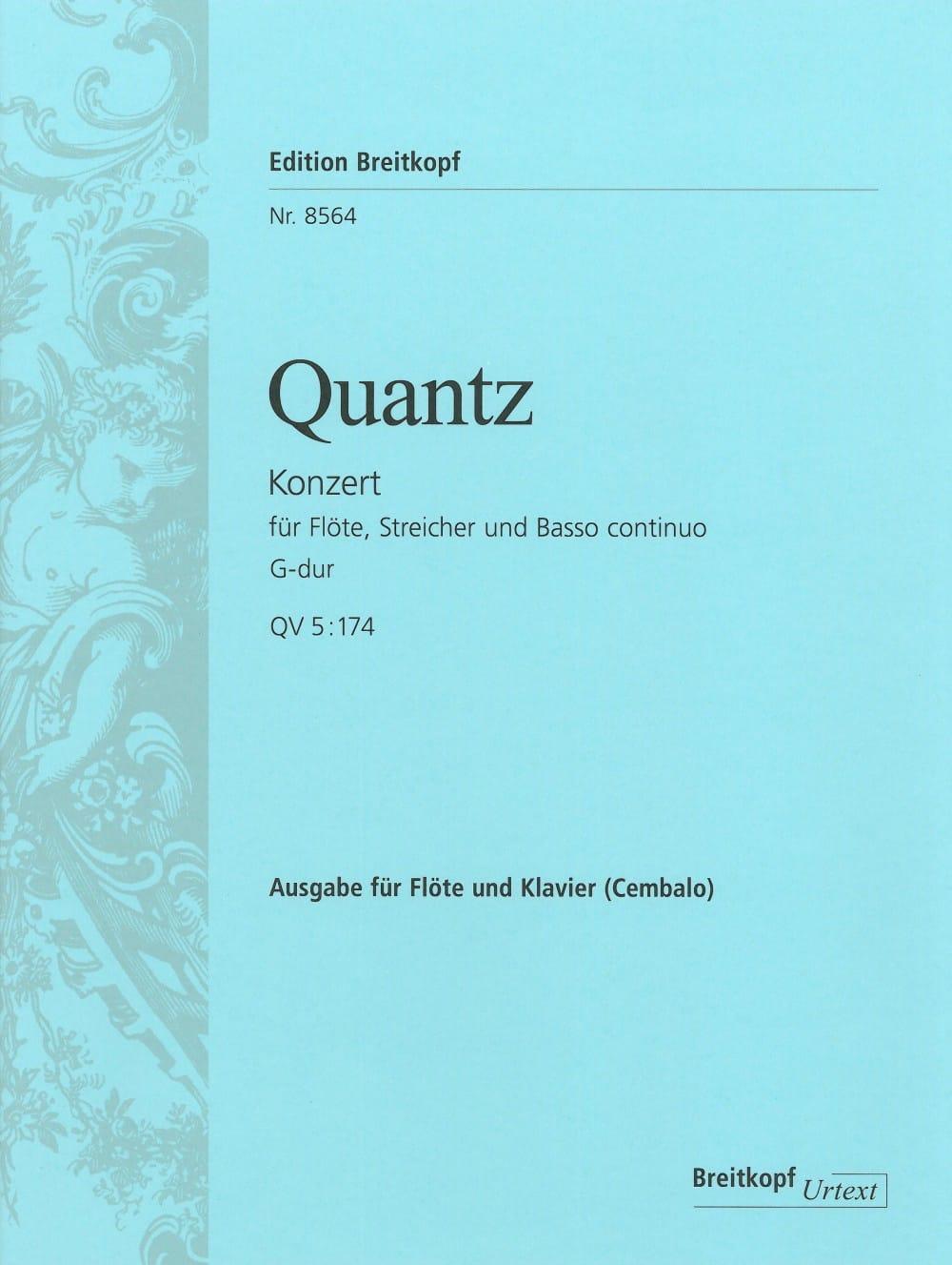 Johann Joachim Quantz - Flötenkonzert G-Dur QV 5: 174 - Klavier Flute - Partition - di-arezzo.co.uk