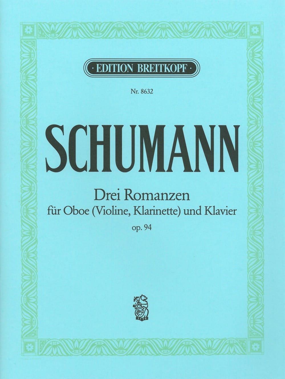 SCHUMANN - 3 Romanzen op. 94 -Oboe Violine, Klarinet Klavier - Partition - di-arezzo.fr