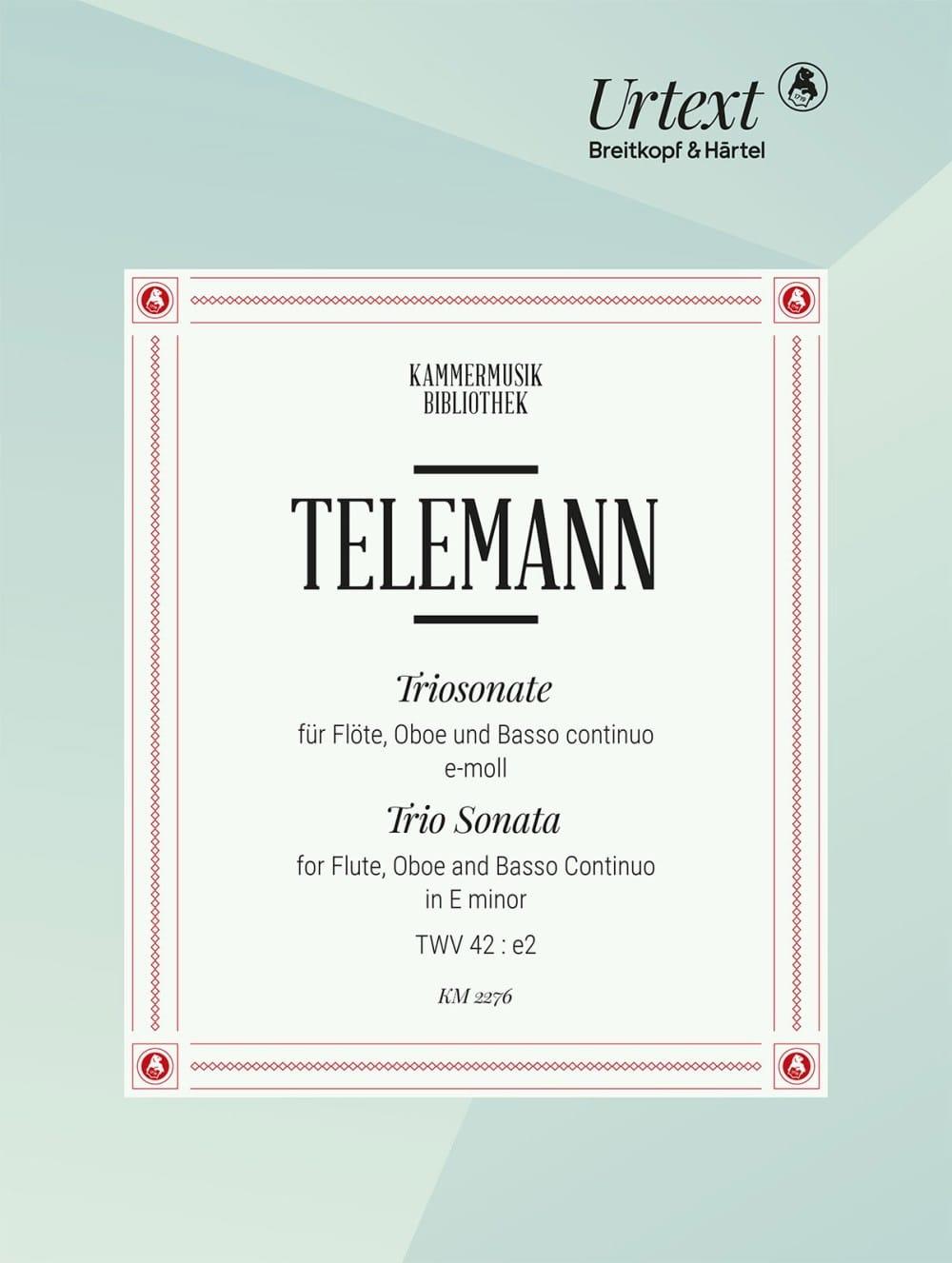 Triosonate TWV 42:e2 - TELEMANN - Partition - Trios - laflutedepan.com