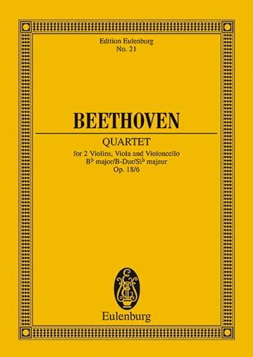 Streichquartett B-Dur op. 18/6 -Partitur - laflutedepan.com