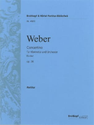 Carl Maria von Weber - Concertino for Klarinette Es-Dur op. 26 - Partitur - Partition - di-arezzo.co.uk