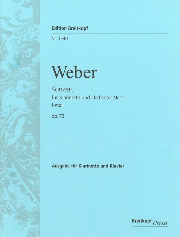 Carl Maria von Weber - Konzert für Klarinette and Orchester Nr. 1 f-moll op. 73 - Klarinette Klavier - Partition - di-arezzo.co.uk