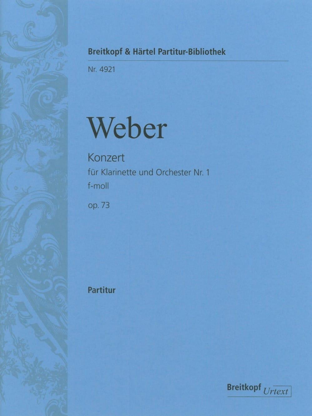 Carl Maria von Weber - Klarinettenkonzert Nr. 1 f-moll op. 73 - Partitur - Partition - di-arezzo.co.uk
