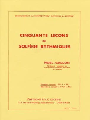 Noël Gallon - 50 lecciones de solfeo rítmico, volumen 1 - Partition - di-arezzo.es
