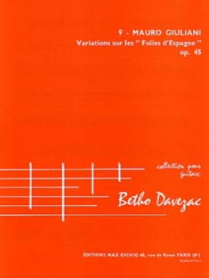 Mauro Giuliani - Variations on the Folies of Spain op. 45 - Partition - di-arezzo.com