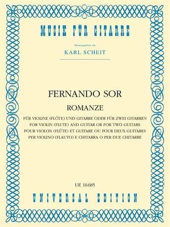 Fernando Sor - Romanze - Violine o. Flöte und Gitarre o. 2 Gitare - Partition - di-arezzo.fr