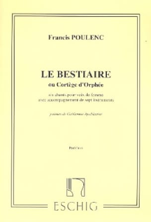 Francis Poulenc - The Bestiary or Procession of Orpheus - Score - Partition - di-arezzo.co.uk
