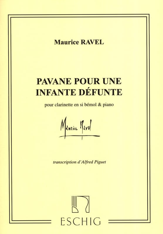 Maurice Ravel - Pavane for a dead infant - Clarinet - Partition - di-arezzo.com