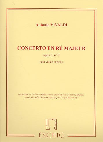 VIVALDI - Concerto D major op. 3 n ° 9 - Partition - di-arezzo.com