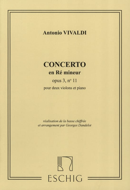 VIVALDI - Concerto D minor op. 3 n ° 11 - 2 Violins - Partition - di-arezzo.co.uk