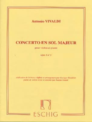 VIVALDI - Concerto in Sol Maj. - op. 3 n ° 3 - Violin / Piano - Partition - di-arezzo.co.uk