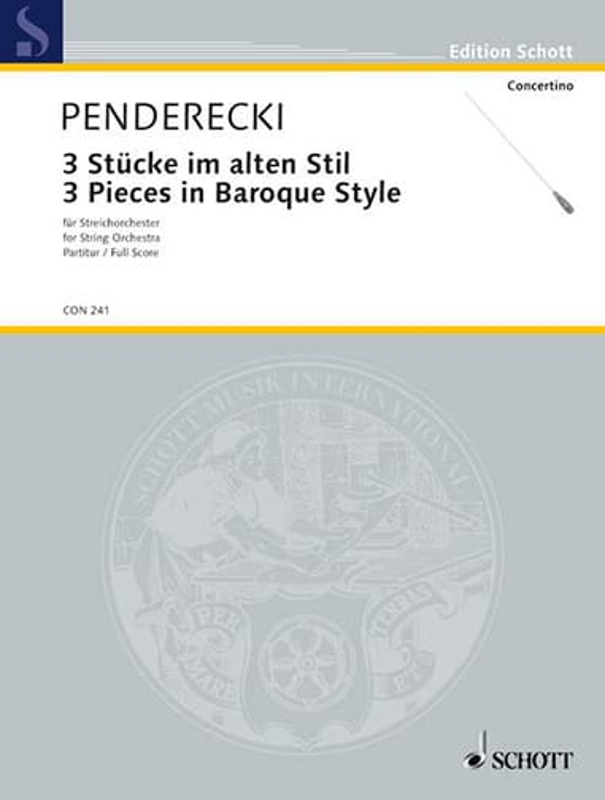 3 Stücke im alten Stil 1963 - Partitur - PENDERECKI - laflutedepan.com
