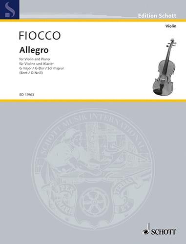 Joseph Hector Fiocco - Allegro in G Major - Partition - di-arezzo.co.uk