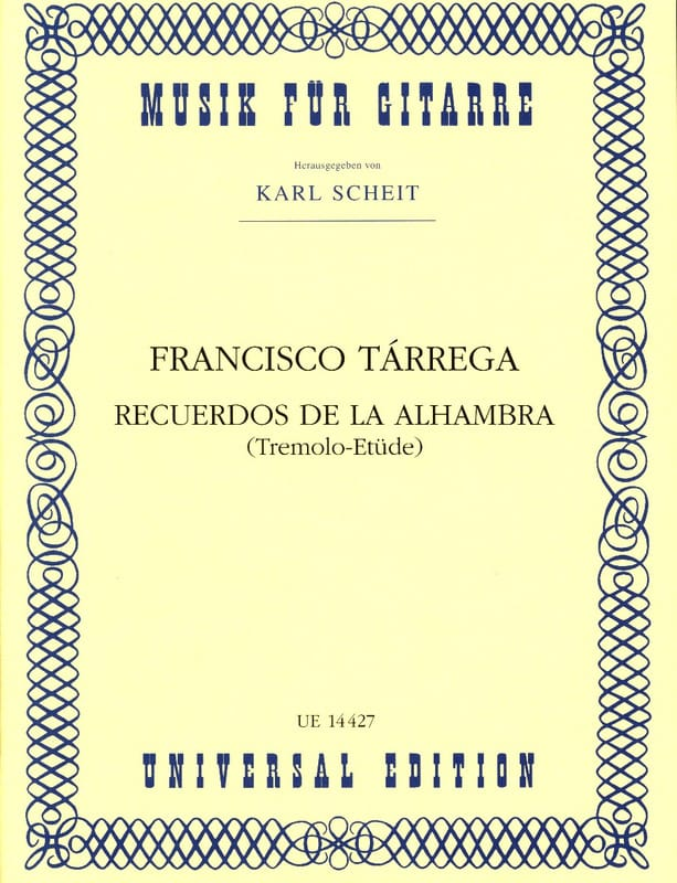 Francisco Tarrega - Recuerdos of the Alhambra - Partition - di-arezzo.com