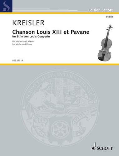 Chanson Louis XIII et Pavane - KREISLER - Partition - laflutedepan.com