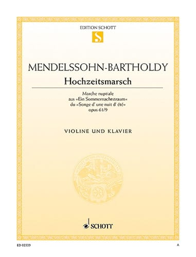 MENDELSSOHN - Hochzeitsmarsch op. 61 n ° 9 - Partition - di-arezzo.co.uk