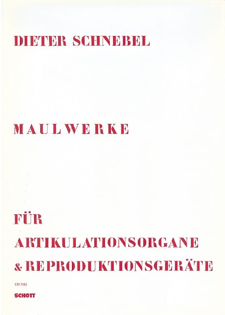 Maulwerke 1968-1974 - Dieter Schnebel - Partition - laflutedepan.com