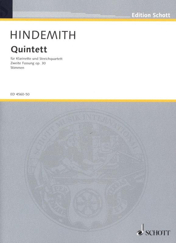 Quintett op. 30 Fassung 1955 -Stimmen - HINDEMITH - laflutedepan.com