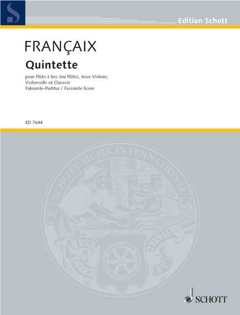Quintette 1988 - Score - FRANÇAIX - Partition - laflutedepan.com