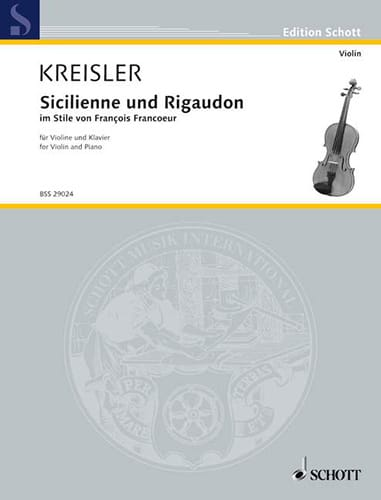 Fritz Kreisler - Sicilian and Rigaudon - Partition - di-arezzo.co.uk