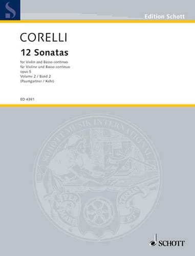 CORELLI - 12 Sonatas op. 5, Volume 2 7 to 12 Paumgartner - Partition - di-arezzo.co.uk