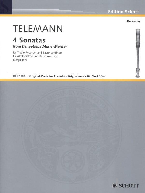 TELEMANN - Sonatas Nr. 1-4 - Altblockflöte u. Bc - Partition - di-arezzo.co.uk