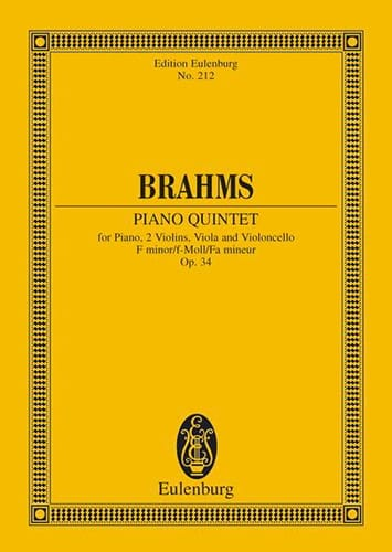 BRAHMS - Klavier-Quintett F-Moll, Op. 34 - Partition - di-arezzo.co.uk