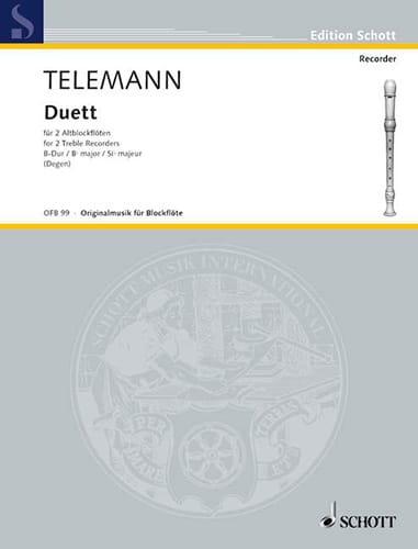 Duett für 2 Altblockflöten - TELEMANN - Partition - laflutedepan.com