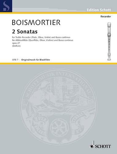2 Sonaten aus op. 27 für Blockflöte - BOISMORTIER - laflutedepan.com